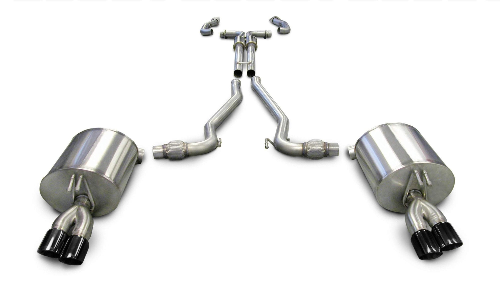 "CORSA PERFORMANCE Cat-Back Exhaust Polished / Sport / Dual Rear - Twin 3.0in 2.5"" Dual Rear Exit Cat-Back Exhaust System with Twin 3.0"" Tips (14950) Sport Sound Level"