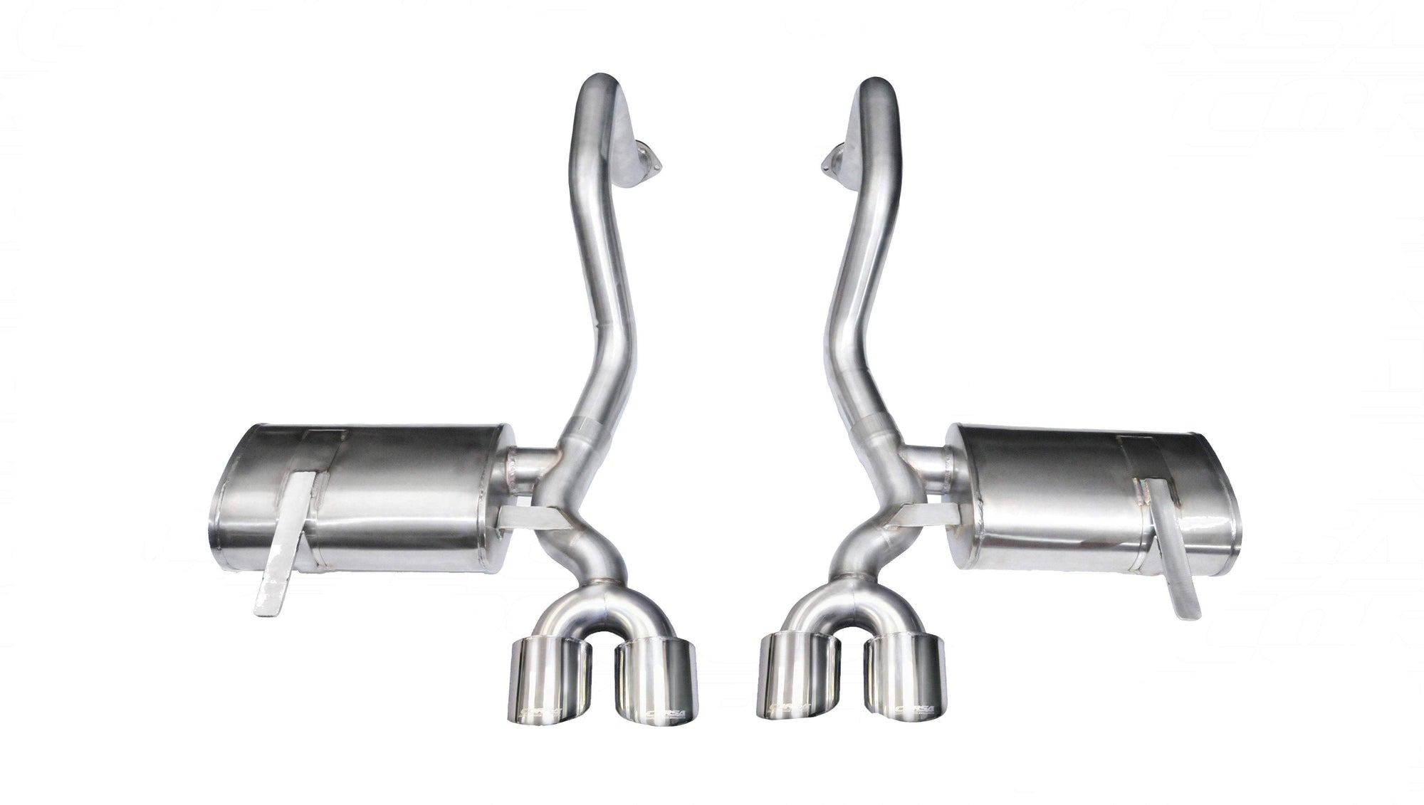 "CORSA PERFORMANCE Axle-Back Exhaust Polished / Xtreme / Dual Rear - Twin 4in 1997-2004 Chevrolet Corvette C5/ C5 Z06 5.7L V8, 2.5"" Dual Rear Exit Axle-Back Exhaust System with Twin 4.0"" Tips (14961) Xtreme Sound Level"