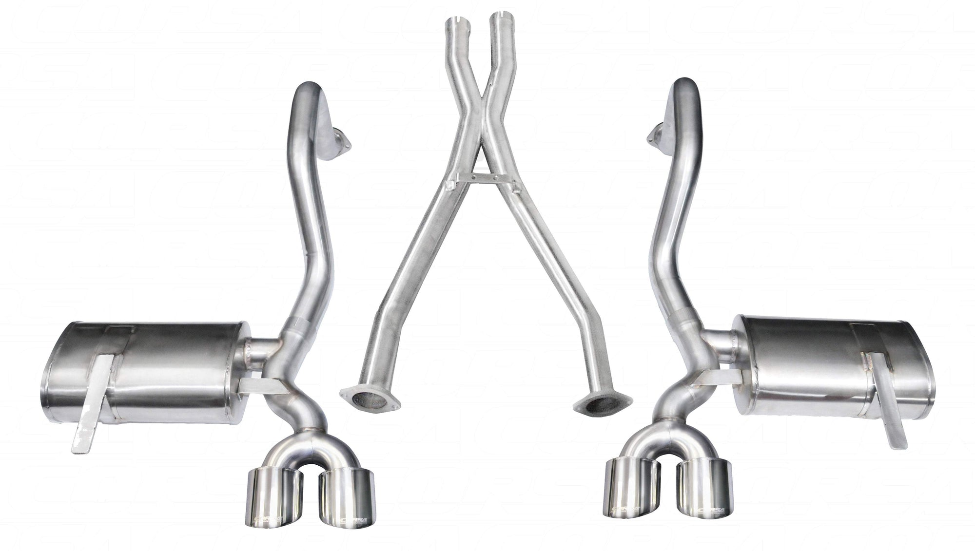 "CORSA PERFORMANCE Cat-Back Exhaust Polished / Xtreme / Dual Rear - Twin 4in 1997-2004 Chevrolet Corvette C5/ C5 Z06 5.7L V8, 2.5"" Dual Rear Exit Cat back Exhaust System with Twin 4.0"" Tips (14962) Xtreme Sound Level"