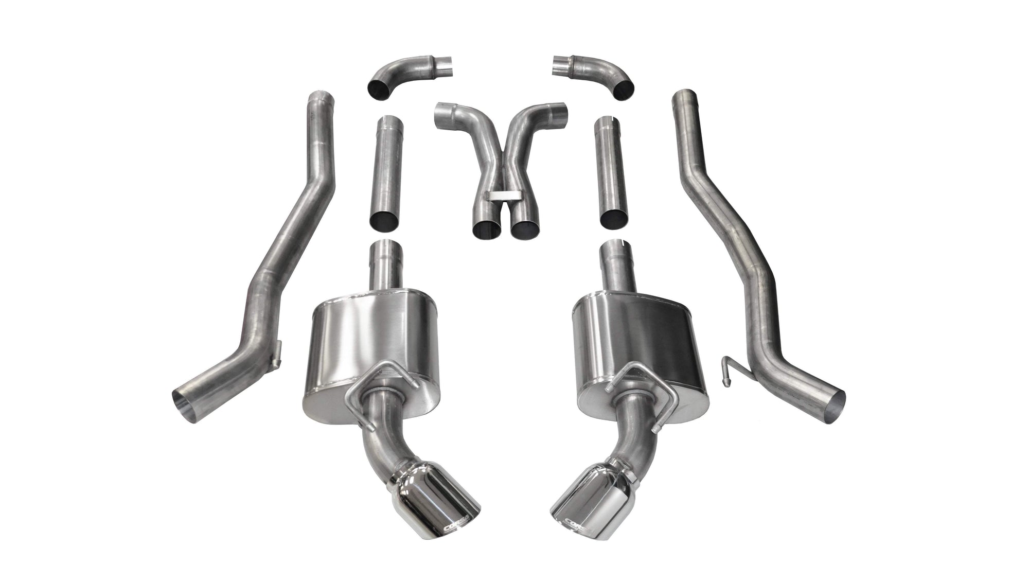 "CORSA PERFORMANCE Cat-Back Exhaust Polished / Xtreme / Dual Rear - Single 4.5in 2010-2015 Chevrolet Camaro SS, 6.2L V8 Manual (All) & Automatic (Convertible), 3.0"" Dual Rear Exit Catback Exhaust System with 4.5"" Tips (14968) Xtreme Sound Level"