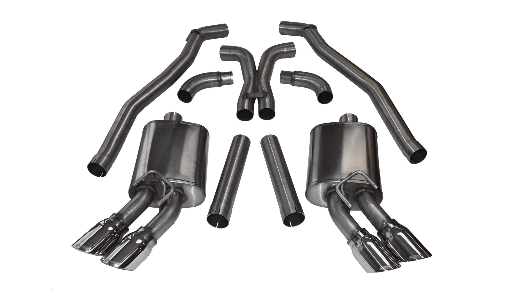 "CORSA PERFORMANCE Cat-Back Exhaust Polished / Sport / Dual Rear - Twin 4.0in 2012-2015 Chevrolet Camaro ZL1 (Coupe) & 10-15 SS 1 LE Coupe, 6.2L V8, 3.0"" Dual Rear Exit Catback Exhaust System with Twin 4.0"" Tips (14971) Sport Sound Level"
