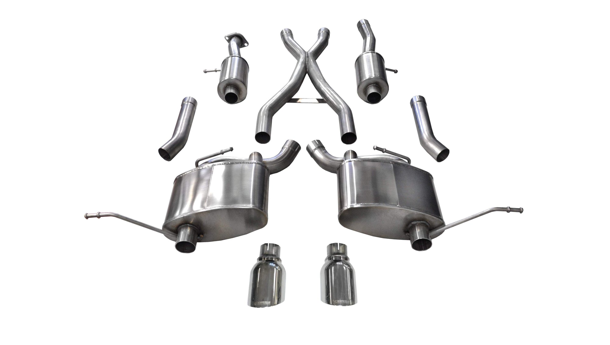 "CORSA PERFORMANCE Cat-Back Exhaust Polished / Sport / Dual Rear - Single 4.5in 2011-2019 Jeep Grand Cherokee 5.7L V8, 2.5"" Dual Rear Exit Catback Exhaust System with Single 4.5"" Tips (14991) Sport Sound Level"