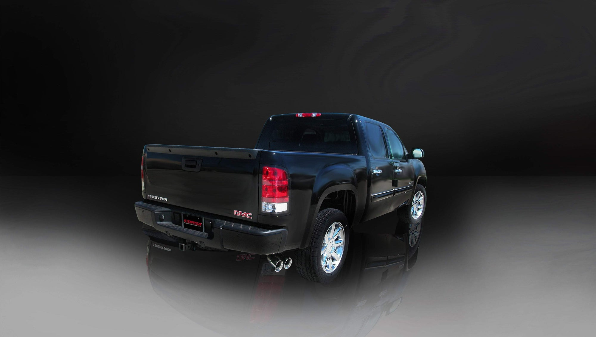 "CORSA PERFORMANCE Cat-Back Exhaust Polished / Sport / Single Side - Twin 4.0in 2007-2008 Chevrolet Silverado, GMC Sierra 4.8L, 5.3L, 6.0L V8, 3.0"" Single Side Exit Catback Exhaust System with Twin 4"" Tips (14259) Sport Sound Level"