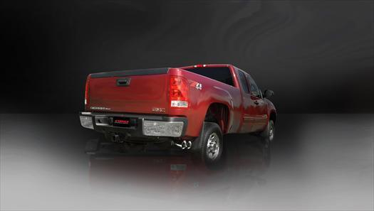 "CORSA PERFORMANCE Cat-Back Exhaust Black / Sport / Single Side - Twin 4in 2009-2013 Chevrolet Silverado, GMC Sierra, 4.8L, 5.3L, 6.0L V8 3.0"" Single Side Exit Catback Exhaust System with Twin 4.0"" Tip (14900) Sport Sound Level"