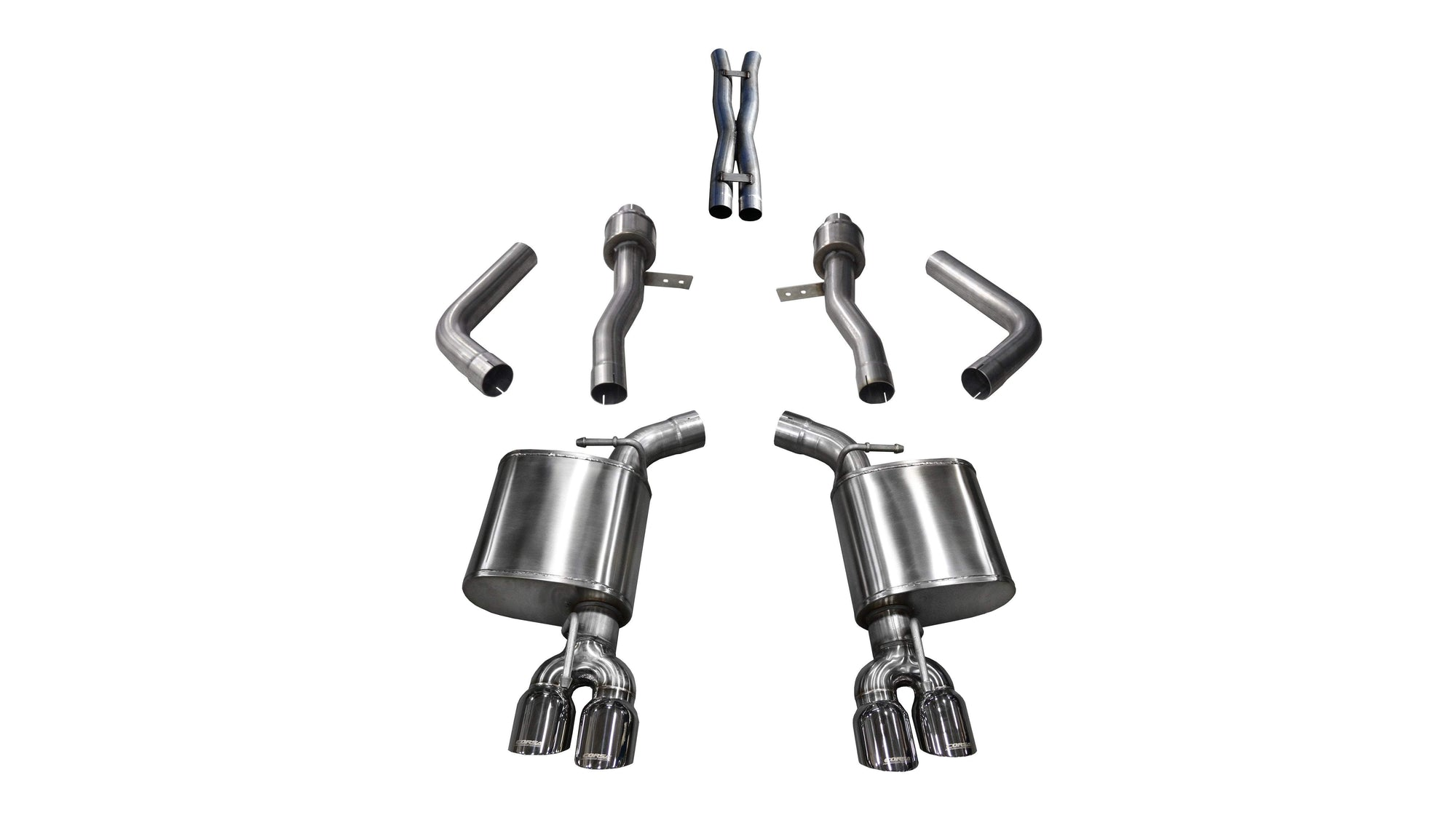 "CORSA PERFORMANCE Cat-Back Exhaust Polished / Sport / Dual Rear - Twin 3.5in 2017-2019 Dodge Challenger, 5.7L V8, 2.75"" Dual Rear Exit Cat-Back Exhaust System with Twin 3.5"" Tips (21005) Sport Sound Level"
