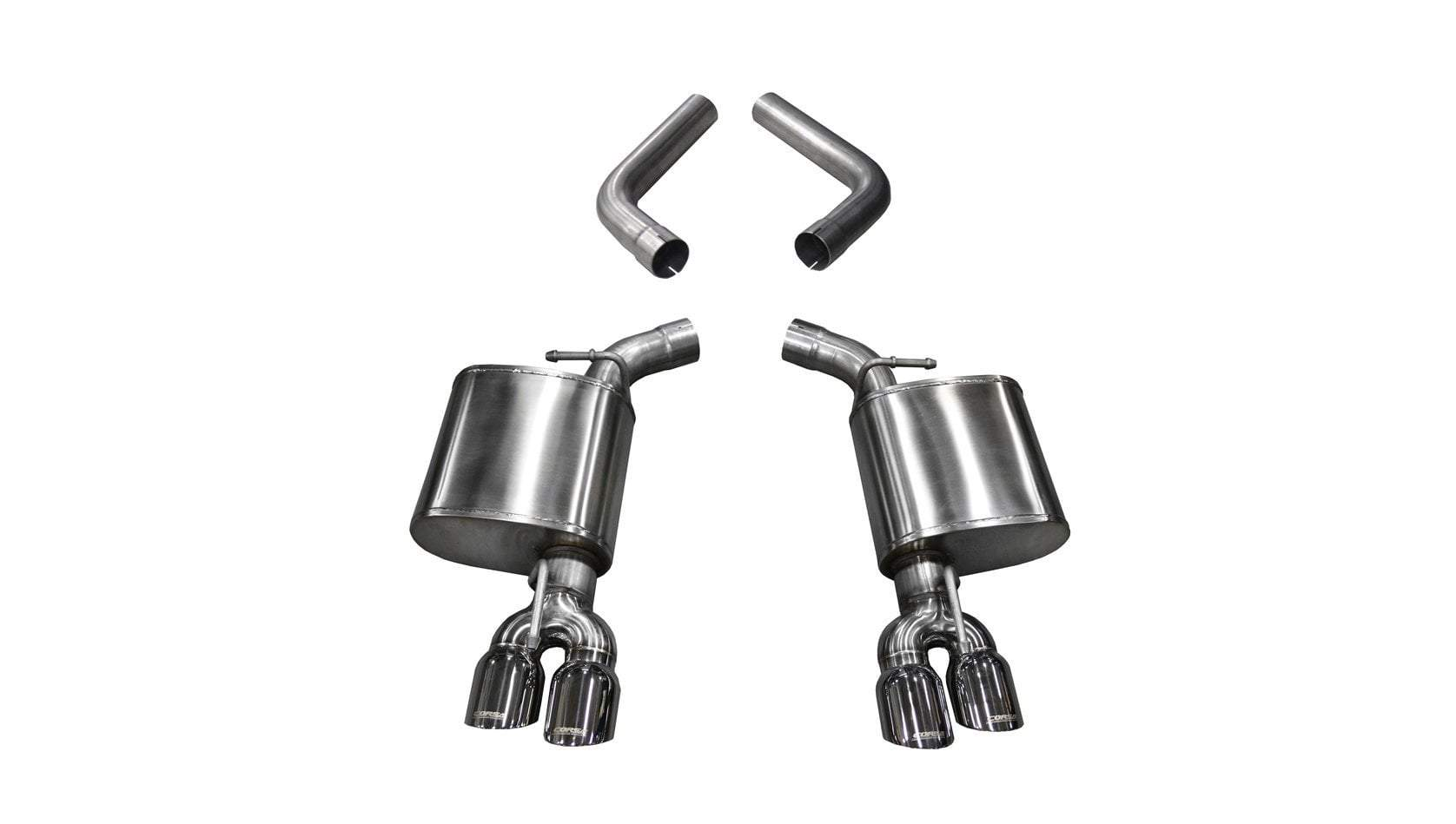 "CORSA PERFORMANCE Axle-Back Exhaust Polished / Sport / Dual Rear - Twin 3.5in 2015-2019 Dodge Challenger 6.4L/6.2L V8, 2017-2019 5.7L V8, 2.75"" Dual Rear Exit Axle-back Exhaust System with Twin 3.5"" Tips (21020) Sport Sound Level"