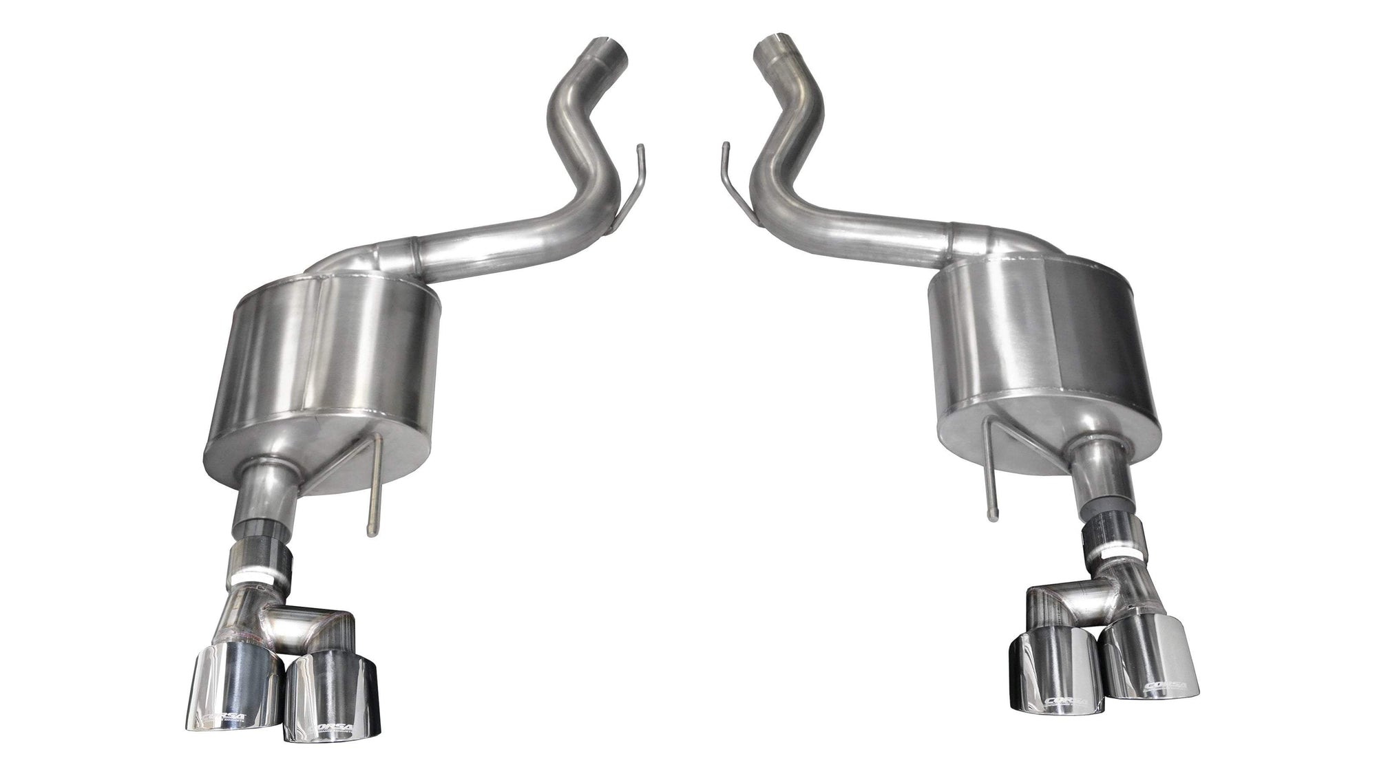 "CORSA PERFORMANCE Axle-Back Exhaust Polished / Sport / Dual Rear - Twin 4.0in 2018-2019 Ford Mustang GT, 5.0L V8, 3.0"" Axle-Back Exhaust System with Twin 4.0"" Tips (21039) Sport Sound Level"