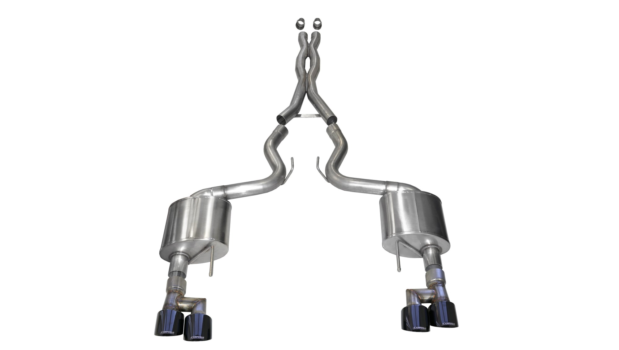 "CORSA PERFORMANCE Cat-Back Exhaust Polished / Sport / Dual Rear - Twin 4.0in 2018-2019 Ford Mustang GT, 5.0L V8, 3.0"" Cat-Back Exhaust System with Twin 4.0"" Tips (21042) Sport Sound Level"
