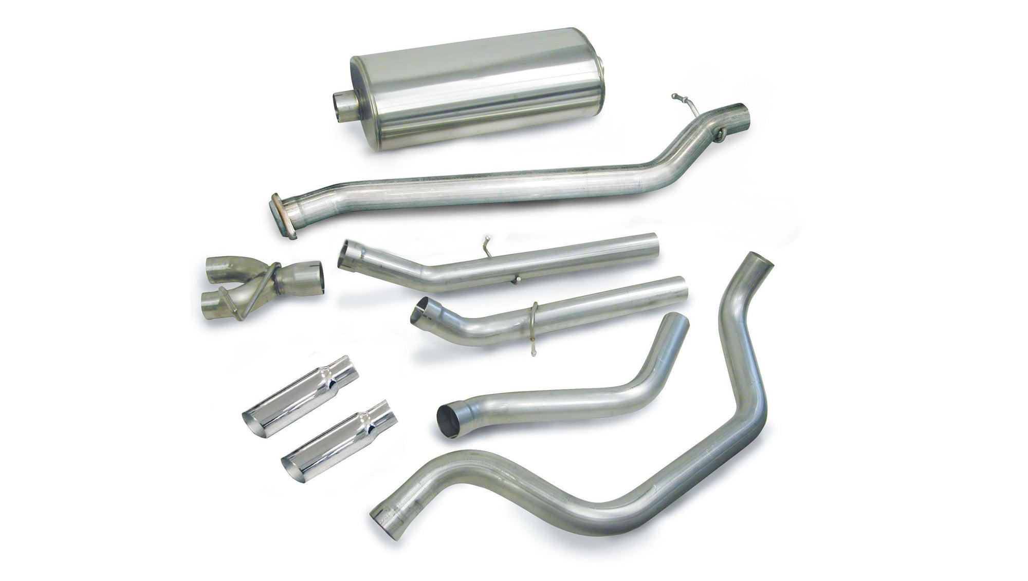 "dB Cat-Back Exhaust Polished / Sport / Dual Rear - Single 4in 1999-2006 Chevrolet Silverado, GMC Sierra 4.8L, 5.3L, 6.0L V8, 3.0"" Dual Rear Exit Catback Exhaust System with 4.0"" Tips (24273) Sport Sound Level"