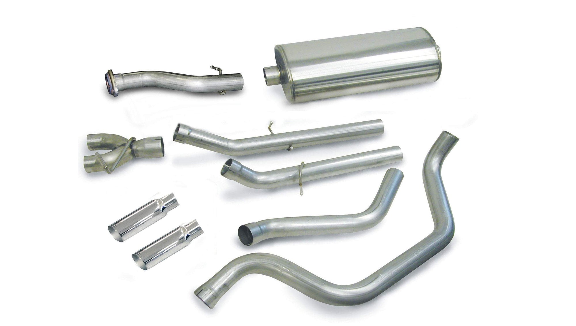 "dB Cat-Back Exhaust Polished / Sport / Dual Rear - Single 4in 1999-2006 Chevrolet Silverado, GMC Sierra, 4.8L, 5.3L V8, Regular Cab Standard Bed, 3.0"" Dual Rear Exit Catback Exhaust System with 4.0"" Tips (24274) Sport Sound Level"