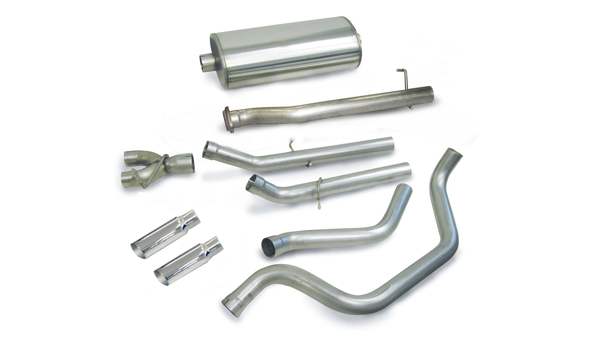 "dB Cat-Back Exhaust Polished / Sport / Dual Rear - Single 4in 1999-2006 Chevrolet Silverado, GMC Sierra, 4.8L, 5.3L, 6.0L V8 3.0"" Dual Rear Exit Catback Exhaust System with 4.0"" Tips  (24275) Sport Sound Level"