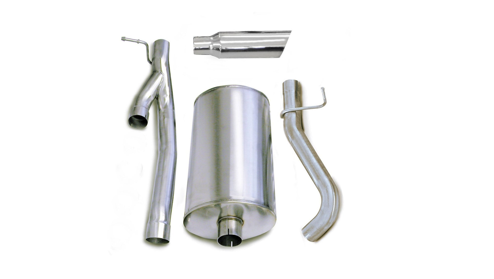 "dB Cat-Back Exhaust Polished / Sport / Single Side - Single 4in 2003-2006 Chevrolet Silverado, GMC Sierra, 2500, 6.0L V8, 3.0"" Single Side Exit Catback Exhaust System with 4.0"" Tip (24292) Sport Sound Level"
