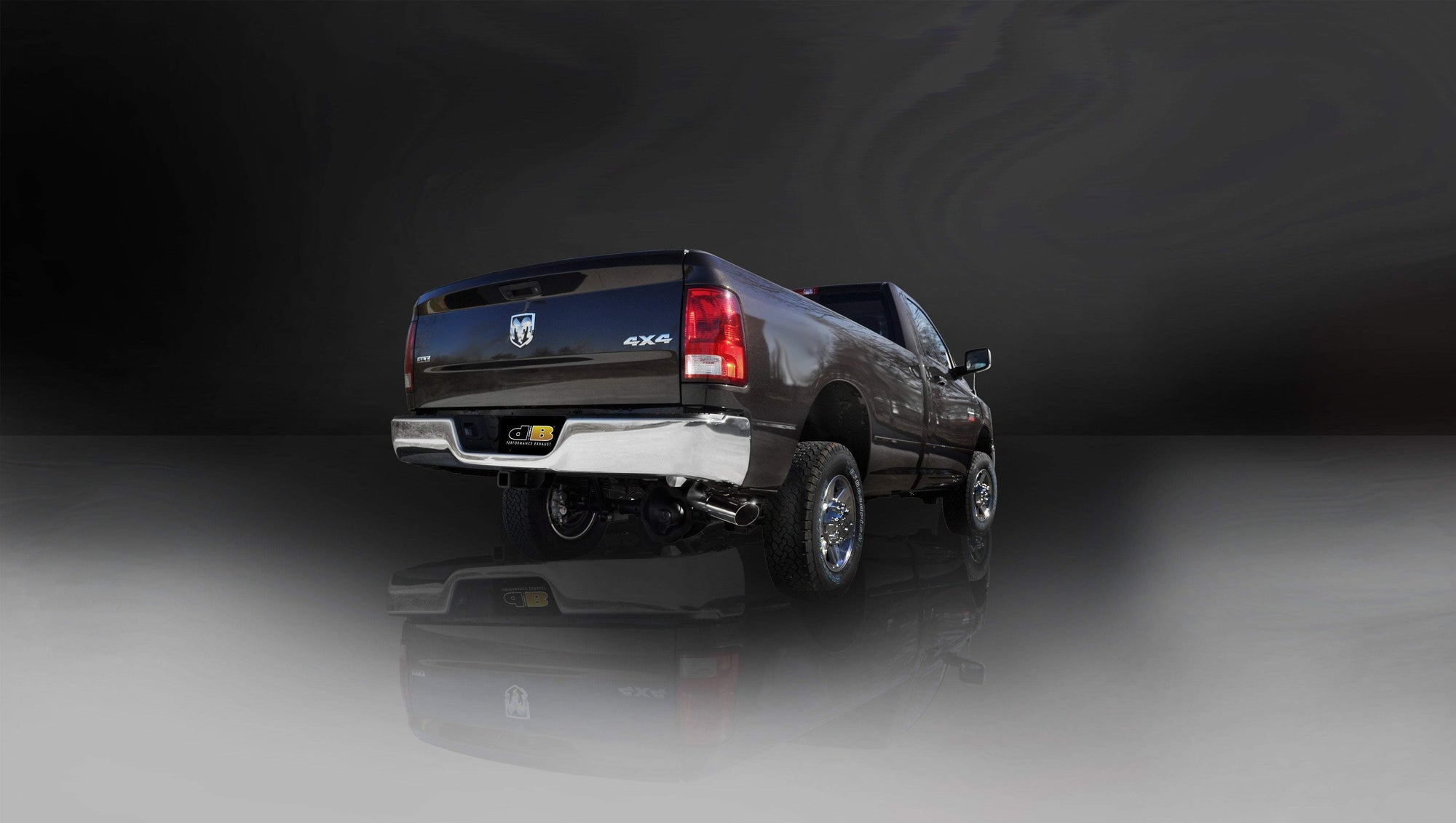 "dB Cat-Back Exhaust Polished / Sport / Single Side - Single 4in Slash Cut 2010-2013 Dodge RAM 2500 5.7L V8 Quad Cab Short Bed 3.0"" Single Side Exit Cat-Back Exhaust System with 4.0"" Tip (24480) Sport Sound Level"