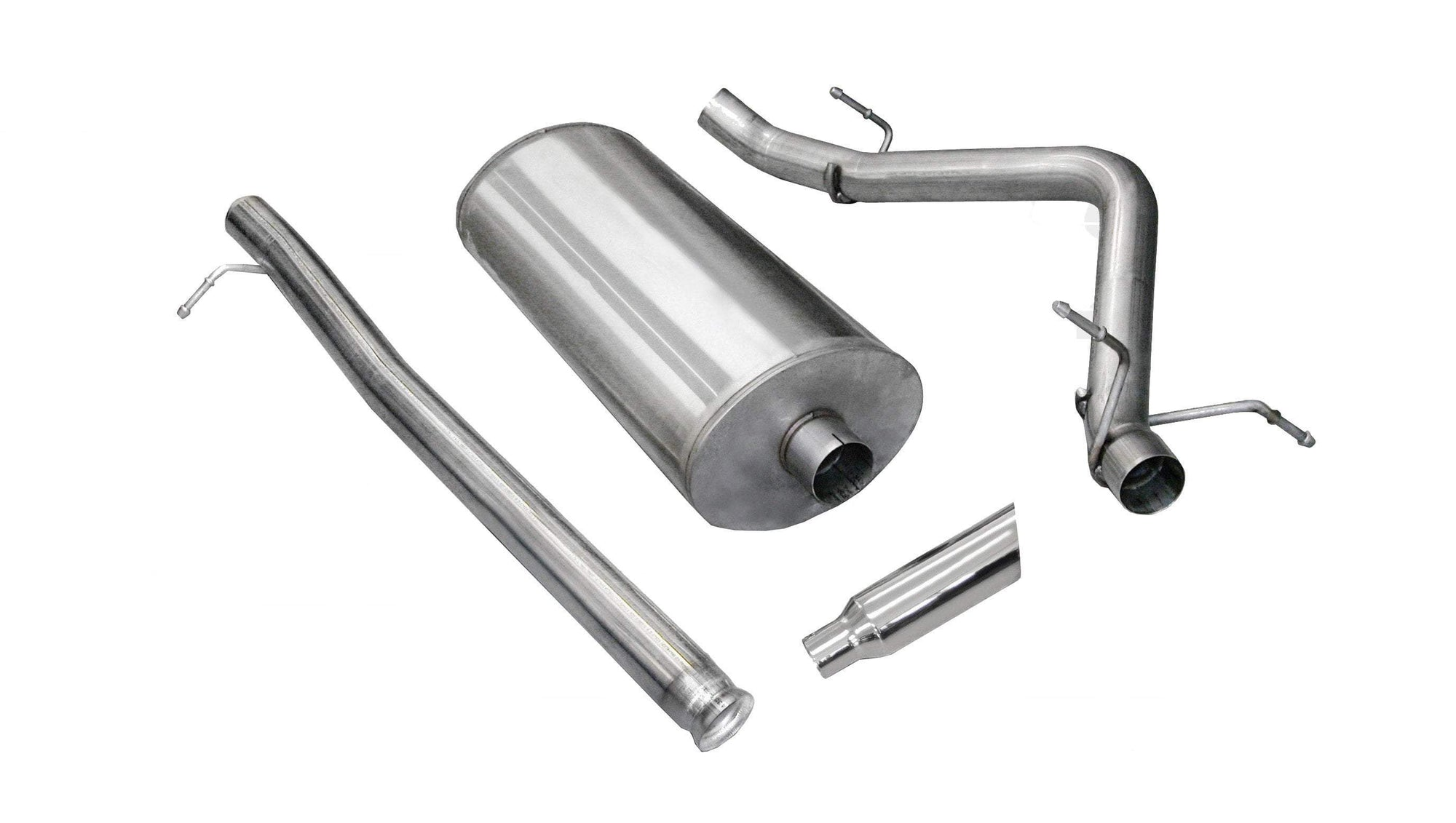 "dB Cat-Back Exhaust Polished / Sport / Single Side - Single 4in 2007-2009 Chevrolet Silverado, GMC Sierra, Denali, 6.2L V8, Crew Cab Short Bed, 3.0"" Single Side Exit Catback Exhaust System with 4.0"" Tip (24514) Sport Sound Level"