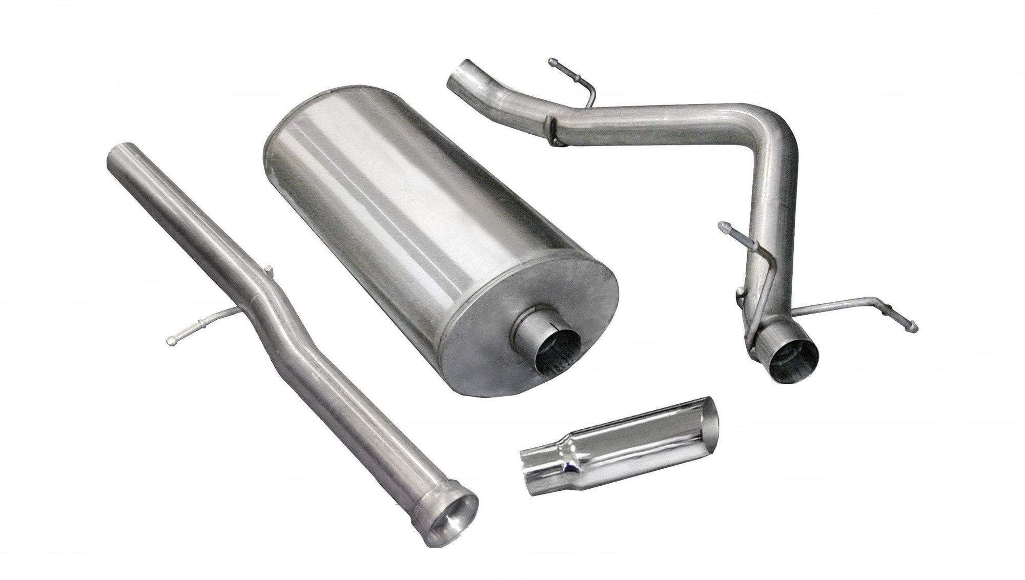 "dB Cat-Back Exhaust Polished / Sport / Single Side - Single 4in 2011-2013 Chevrolet Silverado, GMC Sierra, Denali, 6.2L V8, Crew Cab Short Bed, 3.0"" Catback Exhaust System with 4.0"" Tip (24523) Sport Sound Level"