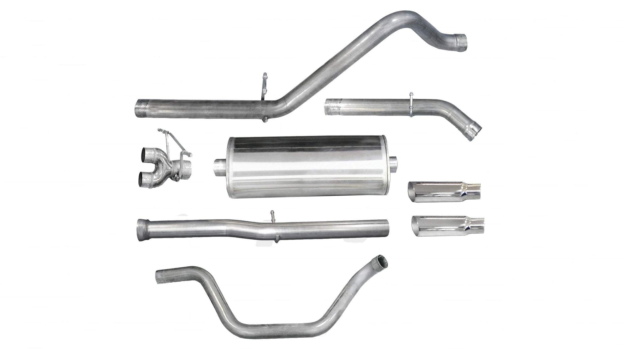 "dB Cat-Back Exhaust Polished / Sport / Dual Rear - Single 4in 2011-2013 Chevrolet Silverado, GMC Sierra, Denali, 6.2L V8, 3.0"" Dual Rear Exit Catback Exhaust System with 4.0"" Tips (24524) Sport Sound Levl"