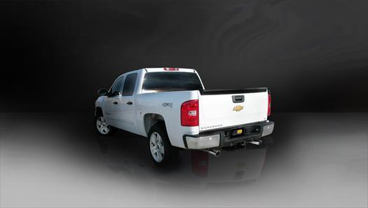 "dB Cat-Back Exhaust Polished / Sport / Dual Rear - Single 4in 2009-2013 Chevrolet Silverado, GMC Sierra 4.8L, 5.3L V8, 3.0"" Dual Rear Exit Catback Exhaust System with Single 4.0"" Slash Cut Tips (24903) Sport Sound Level"