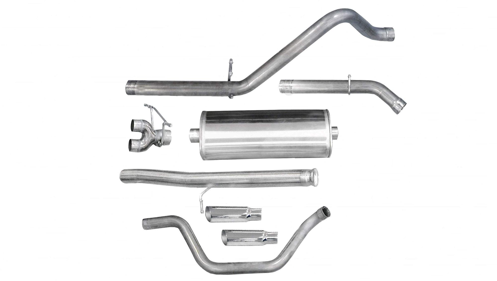 "dB Cat-Back Exhaust Polished / Sport / Dual Rear - Single 4in 2010-2013 Chevrolet Silverado, GMC Sierra, 4.8L, 5.3L, 6.0L V8, 3.0"" Dual Rear Exit Catback Exhaust System with 4.0"" Tips (24907) Sport Sound Level"