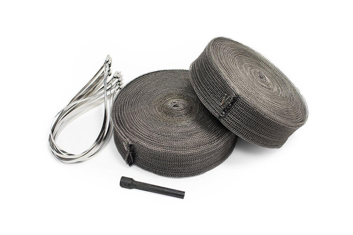Off-Road 304 SS Exoskeleton Exhaust Wrap (AC007) 60 Feet. All Headers Incl: Corvette C7, Camaro, Mustang, Silverado, Challenger, Charger