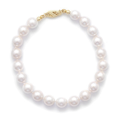 "8"" 7-7.5mm Grade AAA Cultured Akoya Pearl Bracelet"