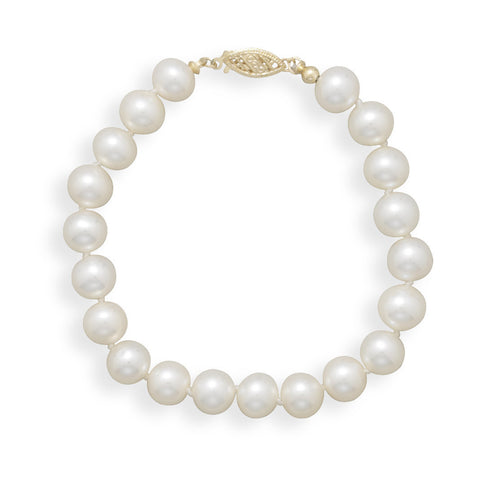 "7"" 7-7.5mm Cultured Freshwater Pearl Bracelet"