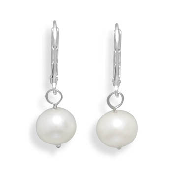 8.5-9mm Freshwater Pearl Drop Earrings with White Gold Lever Back