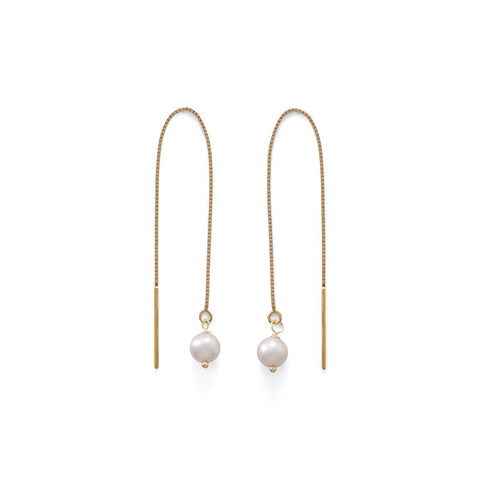 14 Karat Gold Cultured Freshwater Pearl Threader Earrings