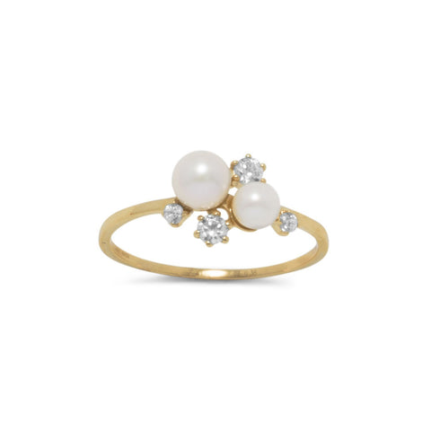 14 Karat Gold Cultured Freshwater Pearl and CZ Cluster Ring
