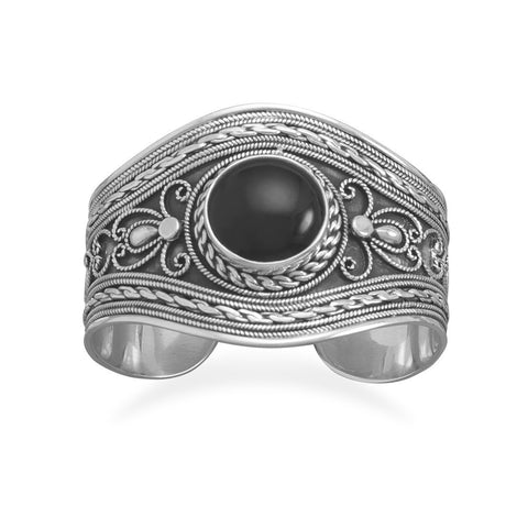 Ornate Cuff Bracelet with Black Onyx