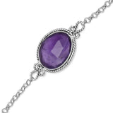 Faceted Oval Amethyst Toggle Bracelet