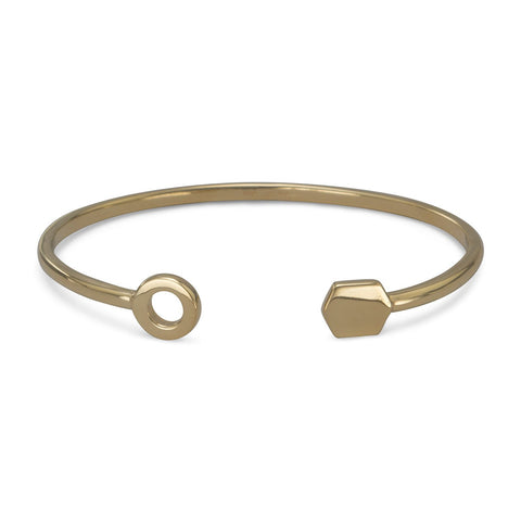 14 Karat Gold Plated Cuff Bracelet with Multishape Ends