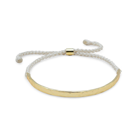 Adjustable Cream Cord Bracelet with 14 Karat Gold Plated Textured Bar