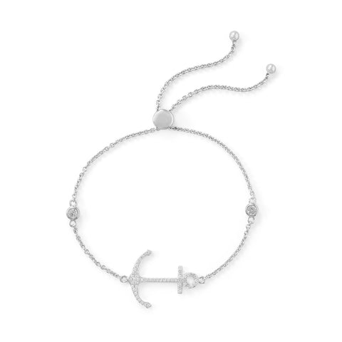 Rhodium Plated CZ Anchor Friendship Bolo Bracelet