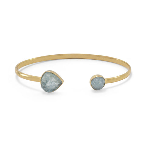14 Karat Gold Plated Aquamarine Open Cuff Bracelet
