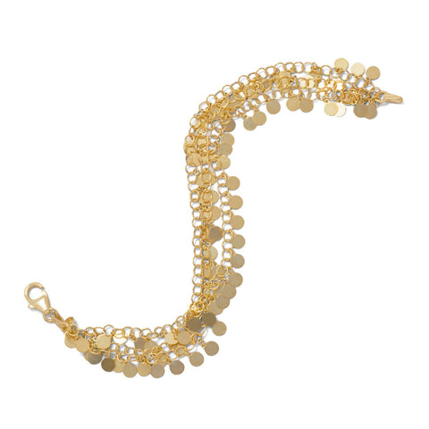 14 Karat Gold Plated Polished Disk Bracelet