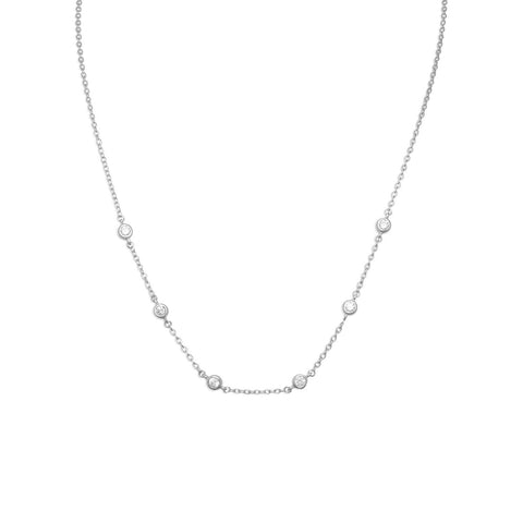 "16""+2"" Extension Rhodium Plated 6 Bezel Set CZ Necklace"