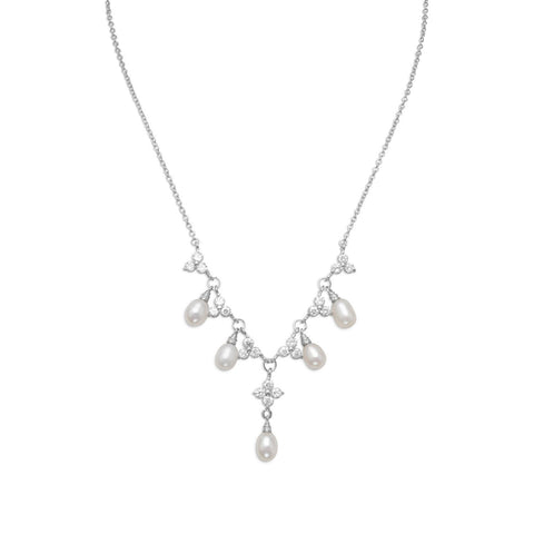 "16"" + 2"" Rhodium Plated CZ Flower and Pearl Necklace"