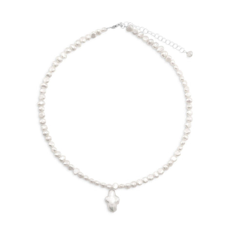"13""+2"" Extension Cultured Freshwater Pearl Necklace with Pearl Cross"