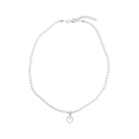 "14""+1"" Extension Cultured Freshwater Pearl Necklace with Heart"