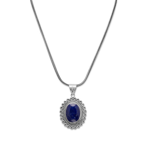 "17.5"" Oxidized Rough-Cut Sapphire Necklace"