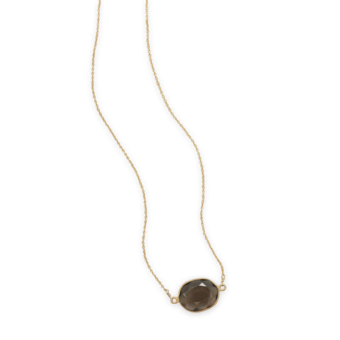 "16""+2"" 14 Karat Gold Plated Smoky Quartz Necklace"