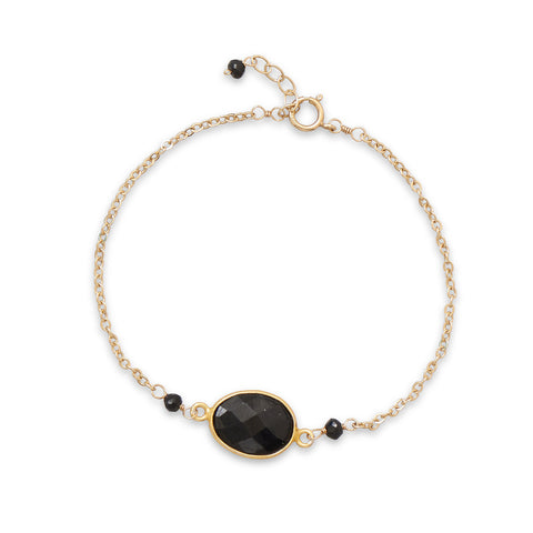 "7"" + .5"" 14/20 Gold Filled Black Spinel Bracelet"