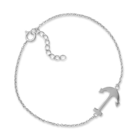 "7"" + 1"" Rhodium Plated Sideways Anchor Bracelet"