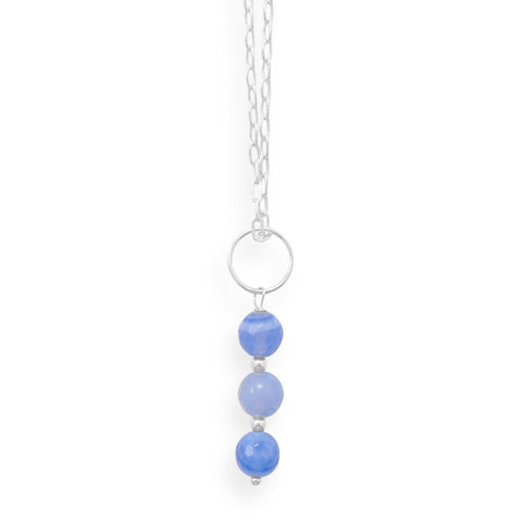 "16"" Handmade Faceted Blue Quartz Necklace"