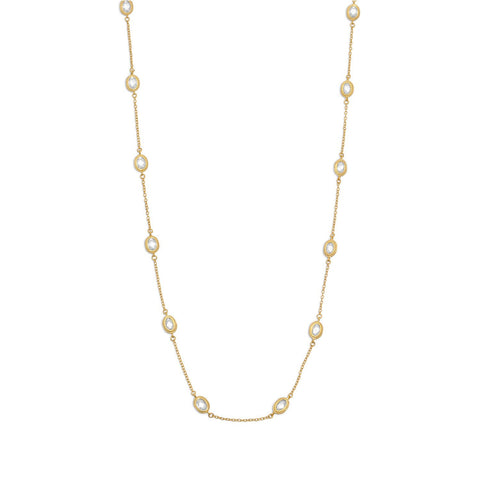 "36"" 14 Karat Gold Plated Clear CZ Necklace"