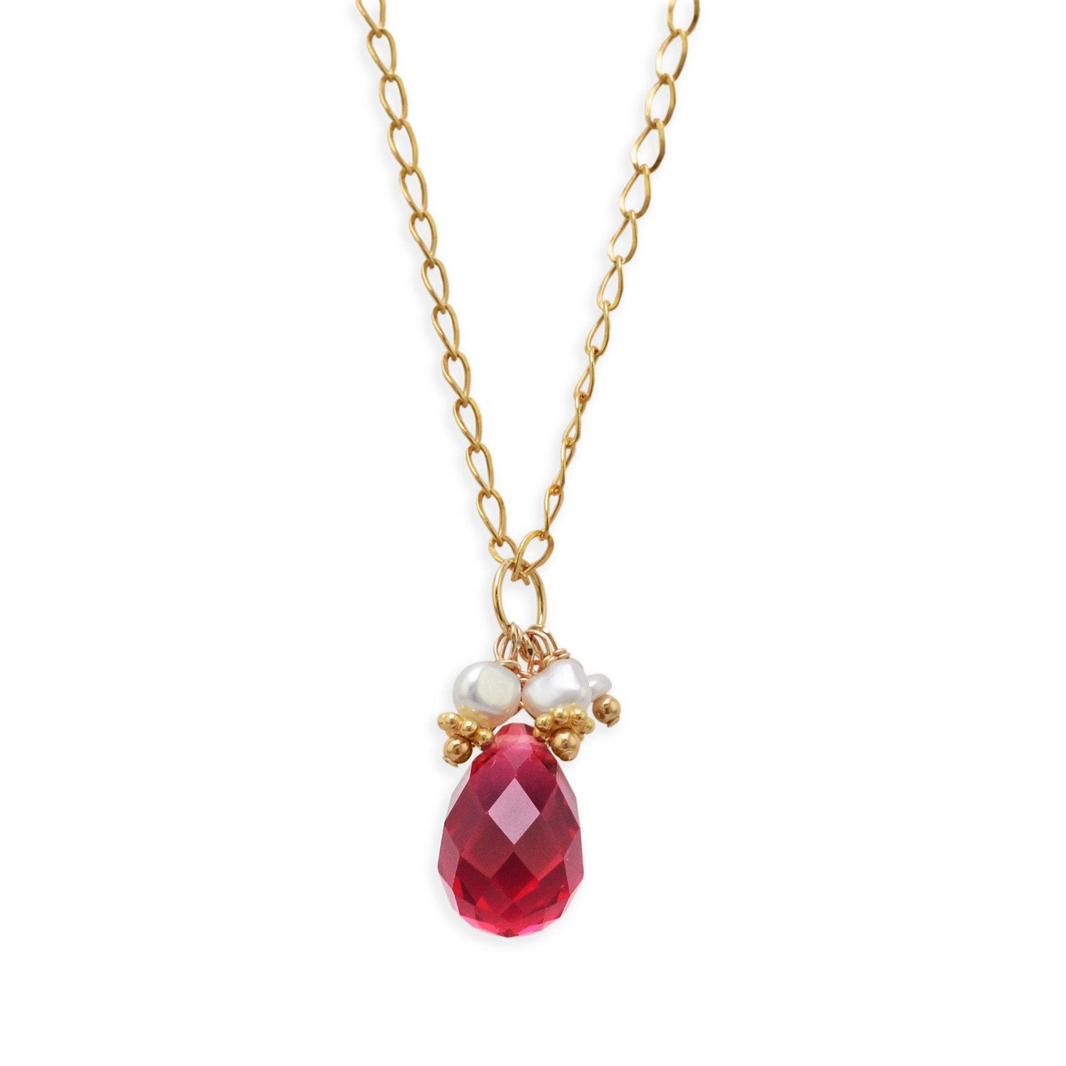 """16"""" 14/20 Gold Filled Necklace with Red Glass Briolette and Cultured Freshwater Pearls"""