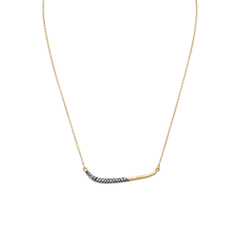 "17"" + 1"" 14 Karat Gold Plated Necklace with Oxidized CZ Bar"