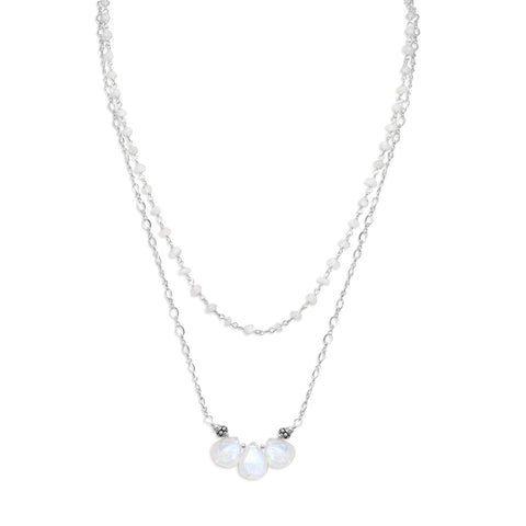 Baila Luna Rainbow Moonstone Drop Necklace