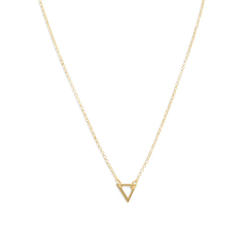 "18"" 14K Gold Plated Open Triangle Necklace"