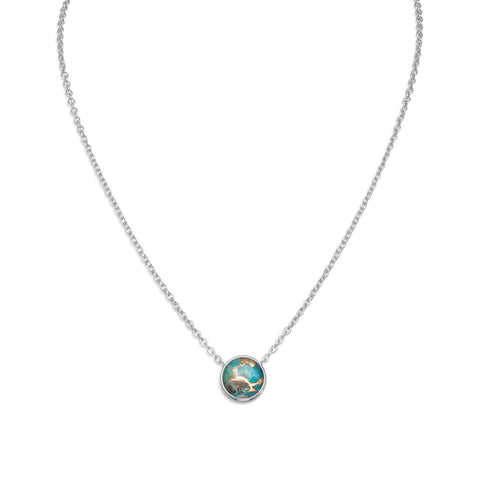 "16"" + 2"" Freeform Faceted Quartz over Turquoise Necklace"